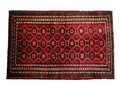 "1009: Torkaman Persian Rug  5'8"" x 3'8""  Light burgundy"
