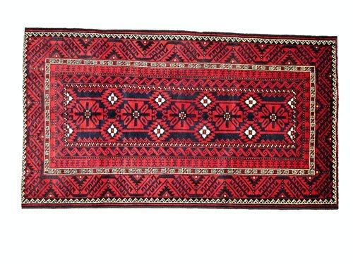 "1010: Kordi Persian Rug  8'10"" x 4'11""  Navy ground wit"