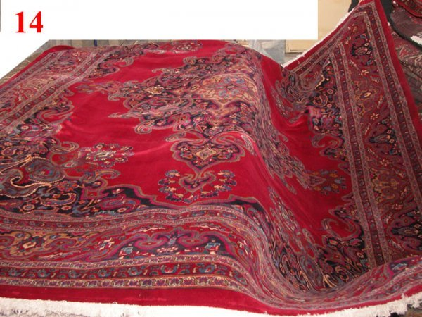 "1014: Mahvelat Persian Rug 12'10""x10'0"" Burgundy ground"