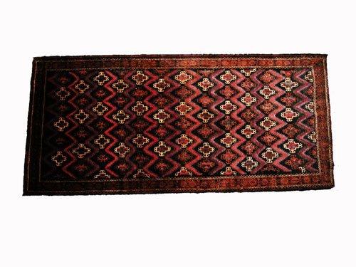"1015: Fariman Persian Rug 9'6"" x 4'4"" Black ground with"