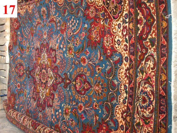 "1017: Sabzevar Persian Rug   11'2"" x 8'3""  Dark blue gr"