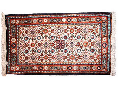 """1019: Mood Persian Rug  2'1"""" x 1'3""""Beige ground with br"""