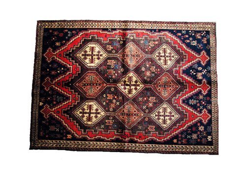 "1025: Koohi Persian Rug  6'11"" x 4'10""  Brown ground wi"