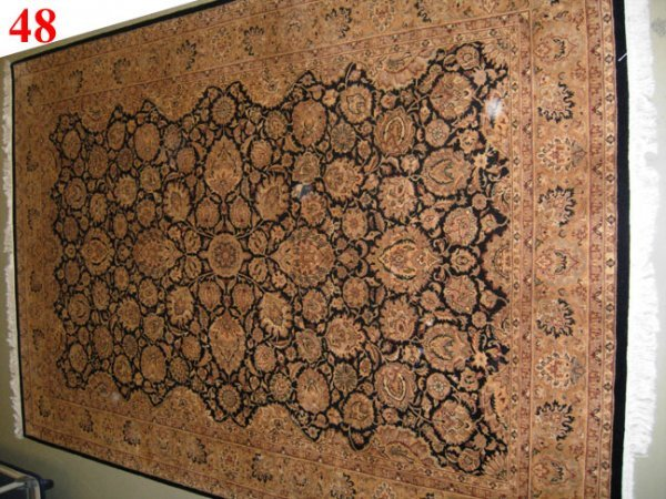 "1048: Fine Pishavar Tabriz design Rug   9'2"" x 6'2""  Bl"