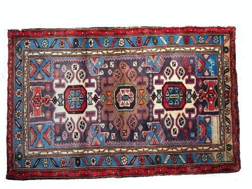 """1086: Hamadan Persian Rug  4'3"""" x 2'9""""  Black ground wi"""