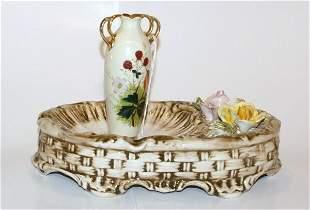 Capodimonte Open Dish & Small Hand Painted Vase
