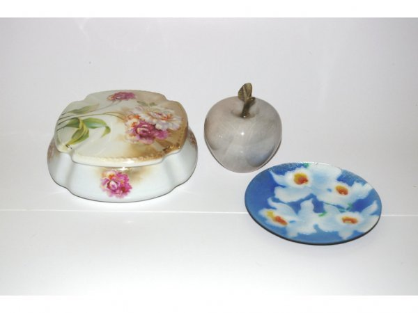 1011: Cloisonne Plate, German Covered Dish