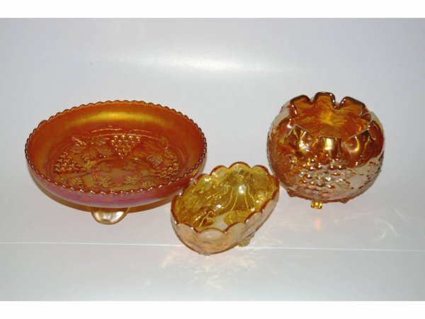 1012: Three Carnival Glass Dishes