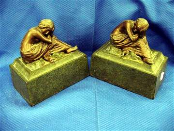 6: Pair of Art Nouveau Spelter and Iron Booke