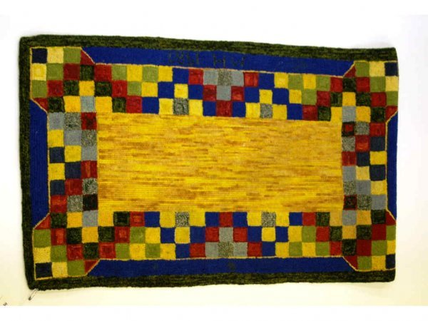 2: Yellow, Red, Blue Hooked Rug