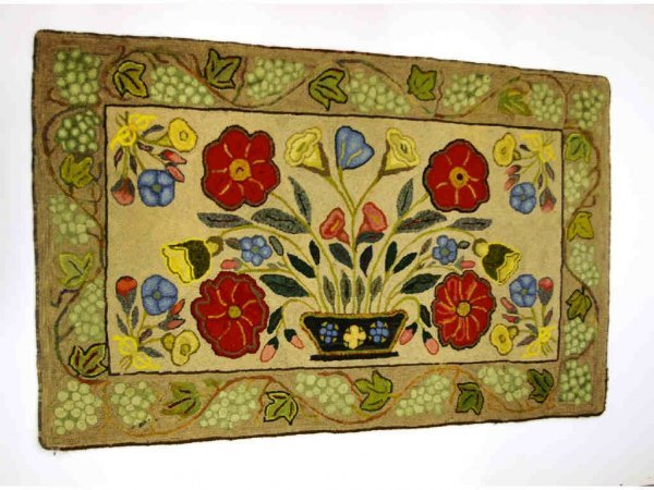 9: Beige, Red, and Blue Flower Hooked Rug