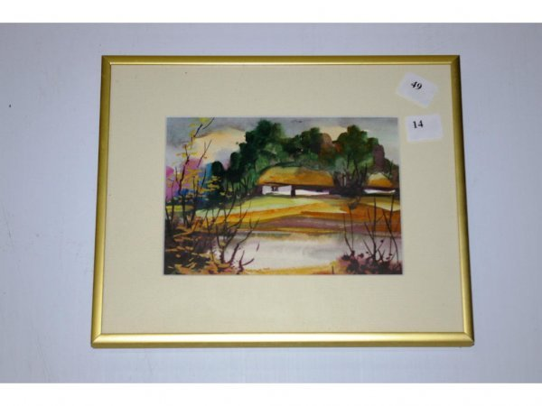 1014: Unsigned Watercolour in Frame