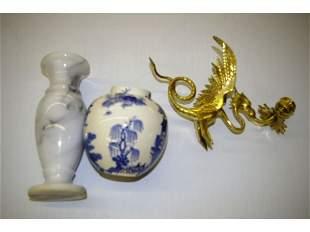 Mason's Tea Jar, Marble Vase, Brass Dragon