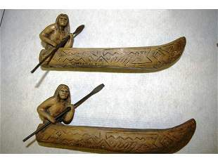 Two Hand Made Canoeists