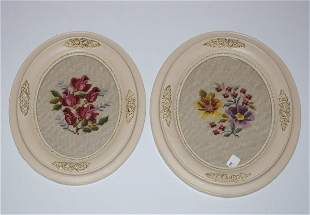 Pair of Antique Oval Framed Needlepoints