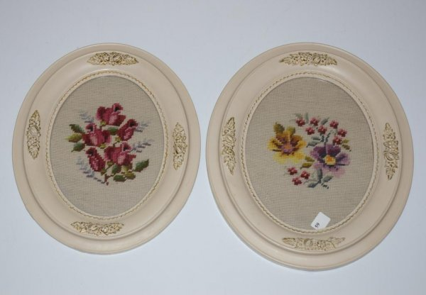 3: Pair of Antique Oval Framed Needlepoints