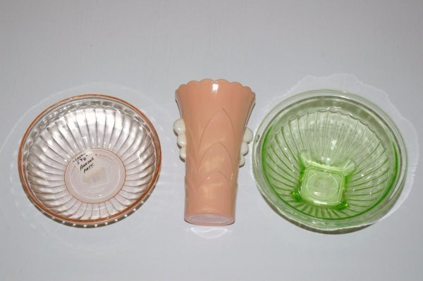 9: Fire King Vase and Two Depression Glass Bowls