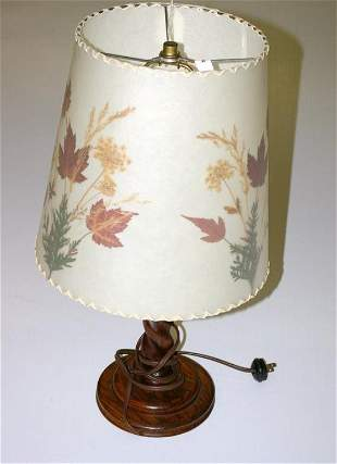 Oak Twisted Lamp with Dornbush Shade