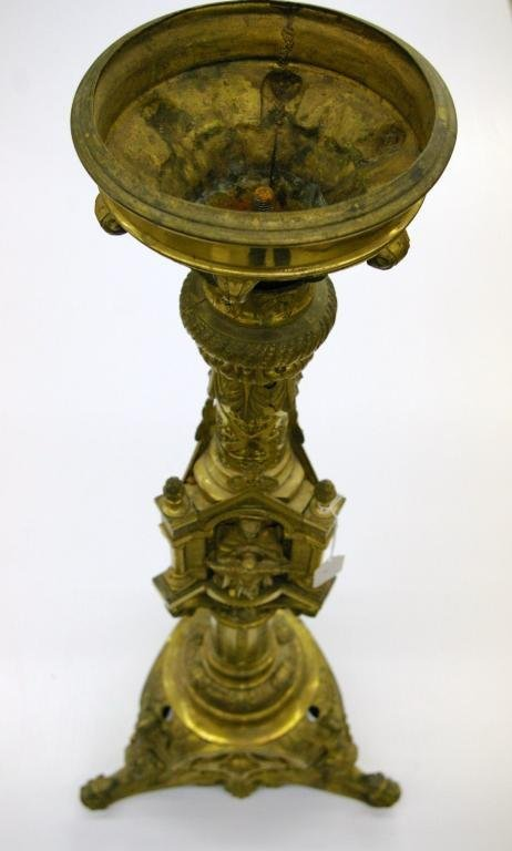 1: Large Brass Like Pedestal