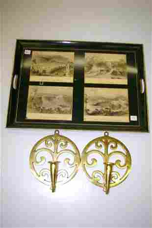 Pair of Brass Candle Wall Sconces & Tray