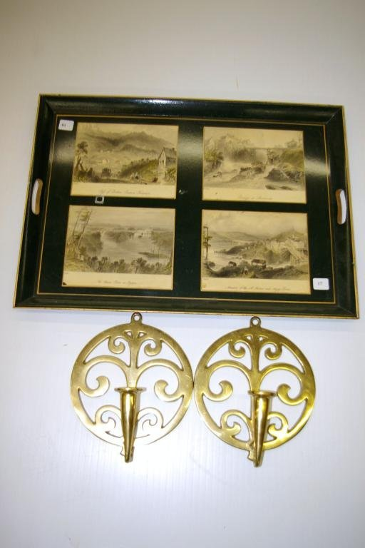 17: Pair of Brass Candle Wall Sconces & Tray