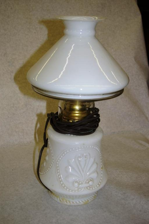 10: Milk Glass Oil Lamp - Converted To Electric