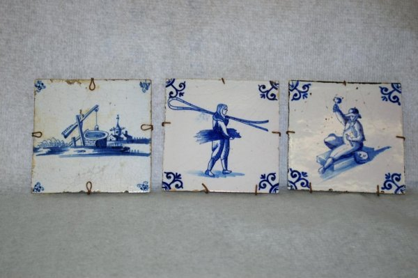 16: 3 Hand Painted Delft Tiles