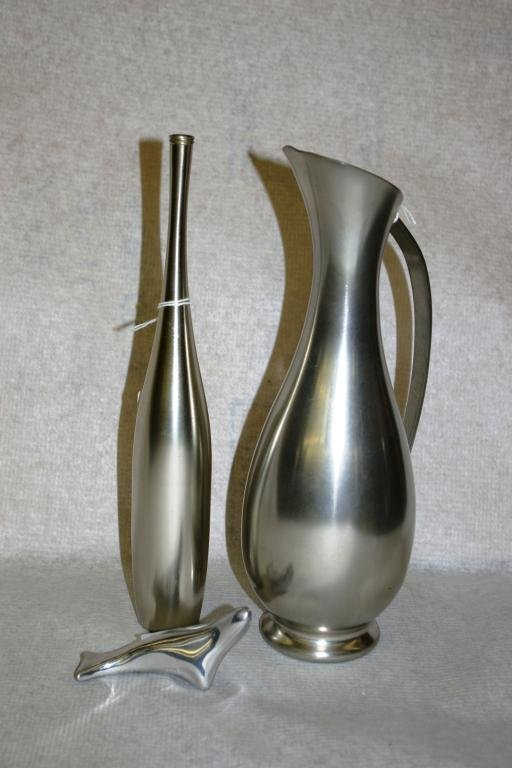17: Pewter Vase & Pitcher And Signed Pewter Seal