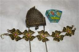 190 Ladies Mesh Purse  Cloisonne Pill Box  Bracelet