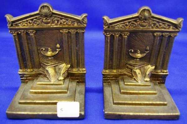 1005: Pair Of Brass Bookends
