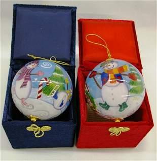 2 Li Bien Hand Painted Ornaments