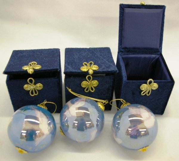 1012: 2 Li Bien Hand Painted Ornaments
