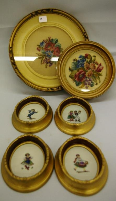 1015: 6 Various Framed Needlepoint Pictures