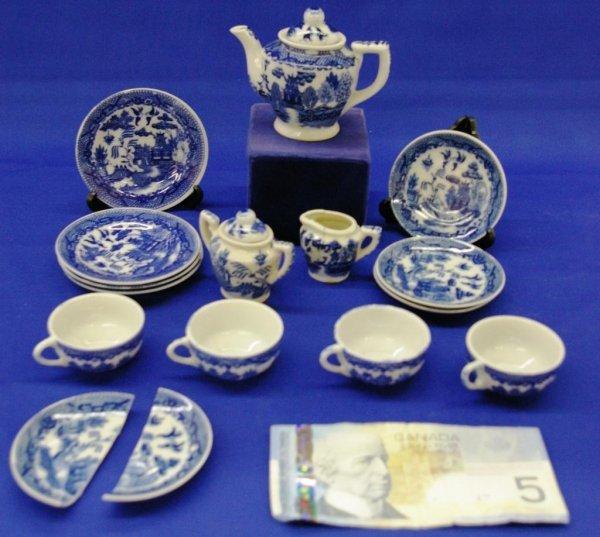 14: Blue Willow Toy Tea Set