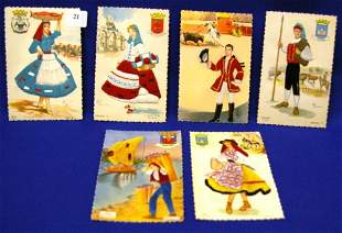6 Early Hand-embroidered Postcards
