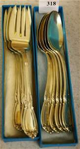 318: 6 Sterling Spoons And 6 Sterling Forks