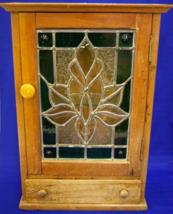 Pine Medicine Cabinet With Leaded Glass Front