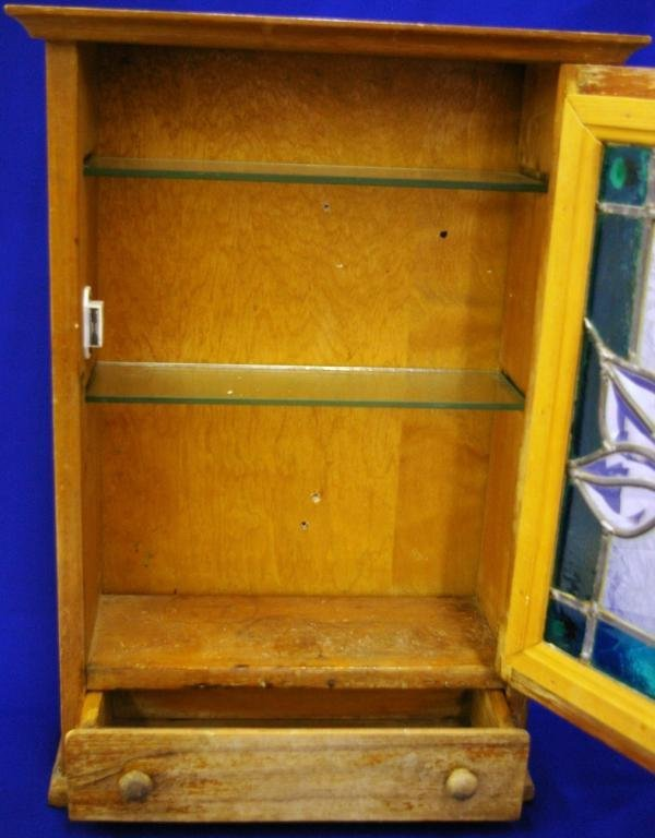 Pine Medicine Cabinet With Leaded Glass Front - 2