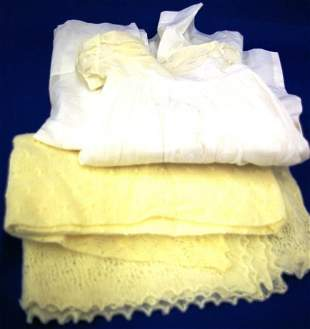 Baby's Christening Gown And Hand-crocheted Blanket