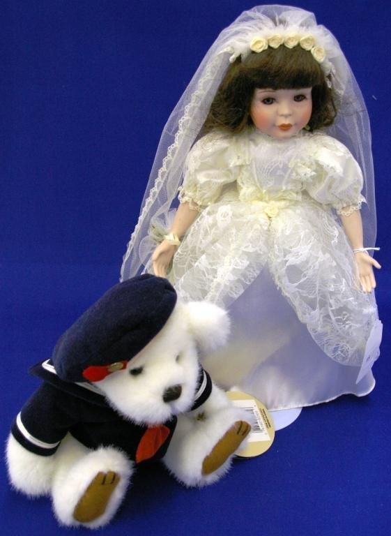 Porcelain Bride Doll On Stand