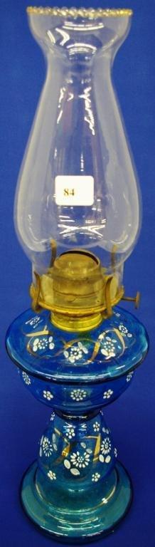 Blue Glass Oil Lamp