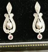14k Wg Pearl Diamond Pink Sapphire Earrings