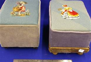 Two Small Needle Point Foot Stools