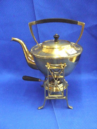 23: LATE VICTORIAN BRASS TEA KETTLE W/STAND
