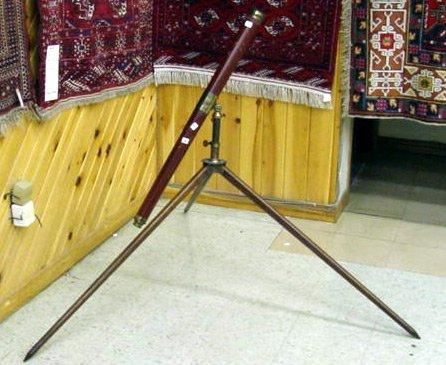 12A: BRASS & WOOD TELESCOPE ON TRIPOD