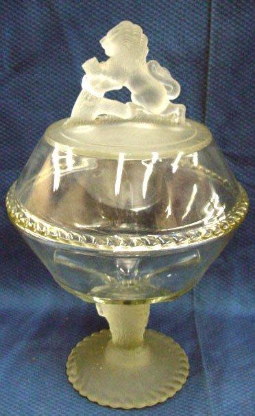 18: Victorian Pressed Glass Lion Compote
