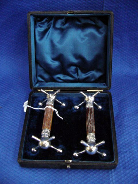 19: Pair of Antler and Silver Plated Knife Re
