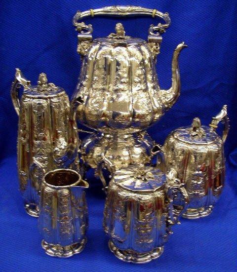 384: Exquisite 1840's 5 Piece Tea and Coffee