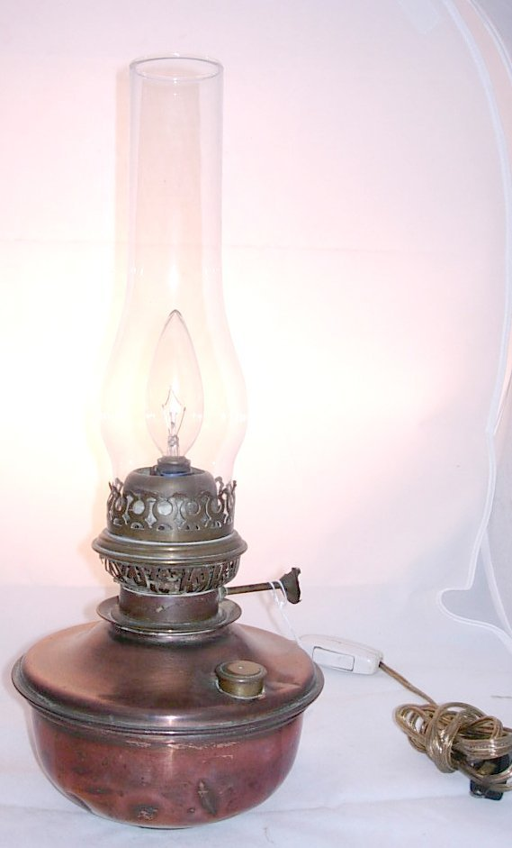 7: Copper and Brass Oil Lantern *has been electrified,