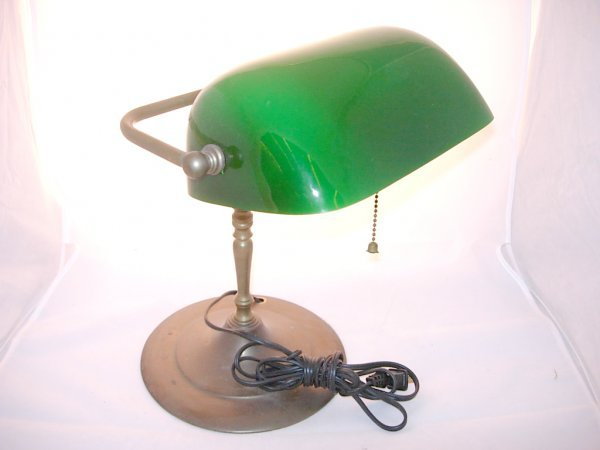 13: Brass Bankers Lamp with Green Shade, measures 12""